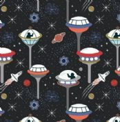 Lewis & Irene - Light Years - 7133 - Black Space City - 418.3 - Glow in the Dark Cotton Fabric